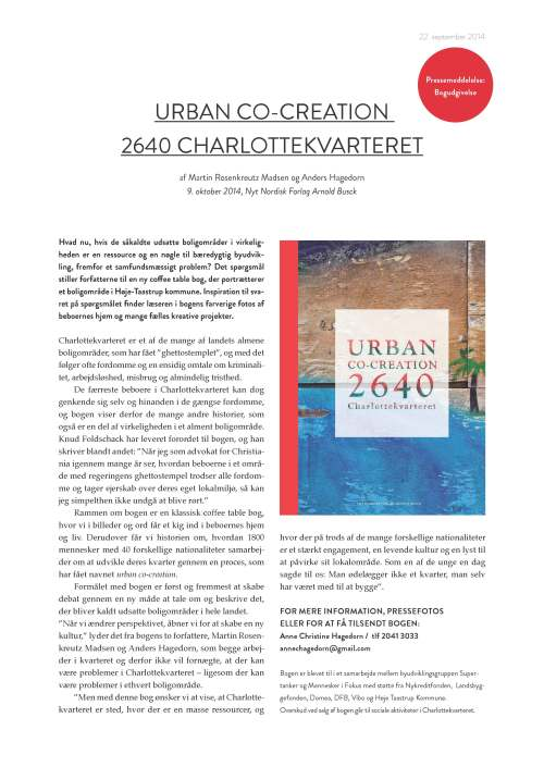 Pressemeddelelse Urban co-creation 2640 Charlottekvarteret